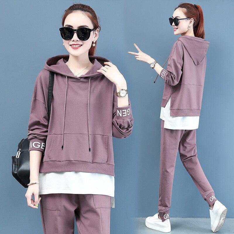 95 Cotton 2019 Autumn New Style Korean-style Fashion Joint Casual Two-Piece Set Sports WOMEN'S Suit