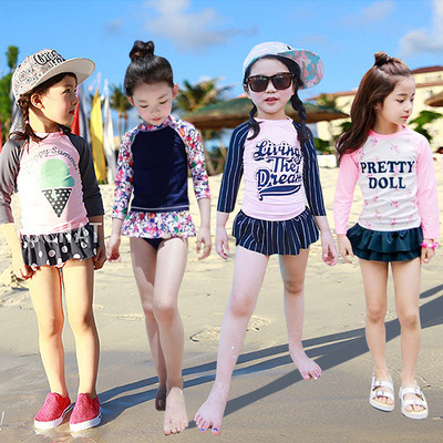 KID'S Swimwear Little Girl Big Boy Split Skirt-Long Sleeve Sun-resistant Cute Princess Students Girls Baby Swimwear