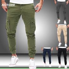 Men Cargo Military Pants Autumn Casual Skinny Pants Army Long Trousers Joggers Sweatpants 2019 Sportswear Camo Pants Trendy 2019 cheap Aotorr Pencil Pants Flat Polyester COTTON NONE REGULAR sweatpants men pantalon hombre Safari Style Midweight Broadcloth