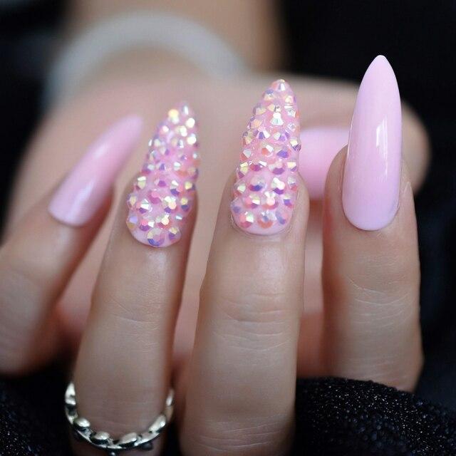 Presse personnalisée sur les ongles Bady rose gelée AB cristal conçu faux ongles Extra Long concepteur strass ongles Art conseils Kit