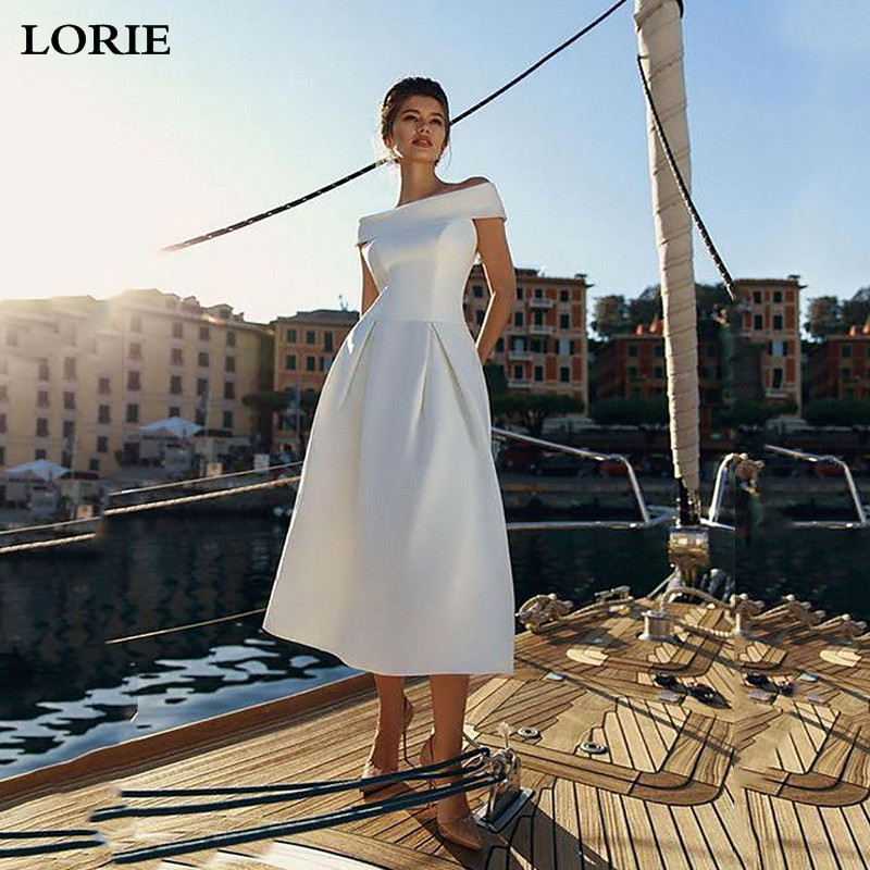 Lorie A-Line Satin Wedding Dresses Plus Size Short Bridal Gowns 2020 Off The Shoulder Vestidos Wedding Gowns