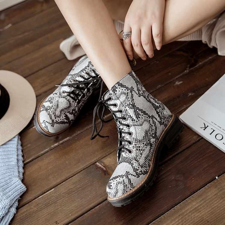 Oversized Laarzen Vrouwen Schoenen Enkellaarsjes Voor Vrouwen Dames Laarzen Luipaard Print Kruis Band Met Afgeronde Kop