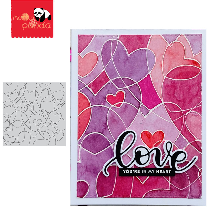 HEART TO HEART BACKGROUND STAMPS Metal Cutting Dies DIY Scrapbooking Craft Die Photo Invitation Cards Decoration