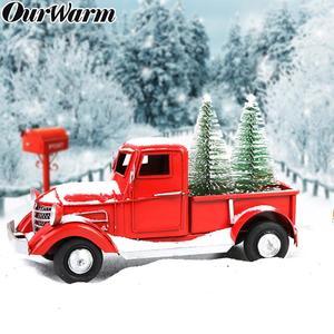 Image 2 - OurWarm adornos navideños para camioneta roja, adornos de escritorio, regalos de Año Nuevo para niños, decoración Vintage de Metal para el hogar