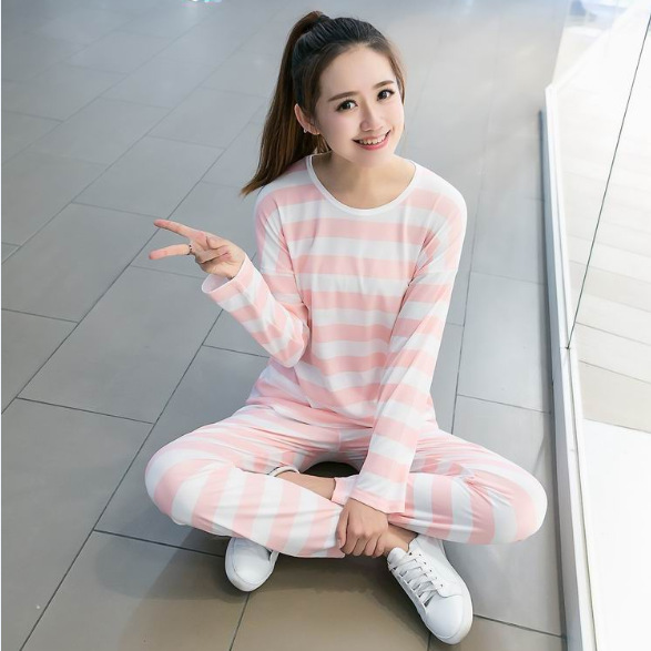 2018 Spring And Autumn New Style Pajamas Women's Thin Cartoon Bear Bees GIRL'S Set Multi--Homewear Set