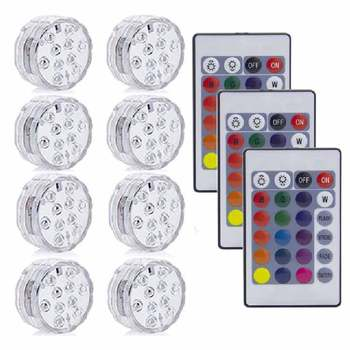 10LED RGB LED Underwater Light Pond Submersible IP67 Waterproof Swimming Pool Light Battery Operated For Wedding Party - 3 Remote 8 Light