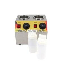 Коммерческий Электрический тройной соус бутылки теплее горячий сыр шоколад 2 бутылки подогрева машина диспенсер плавления