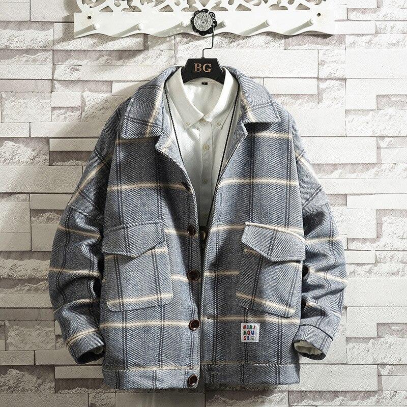 Mens Coats 2020 Plaid Woolen Coat Male Autumn and Winter Loose Trend Casual Woolen Coat Jacket Male