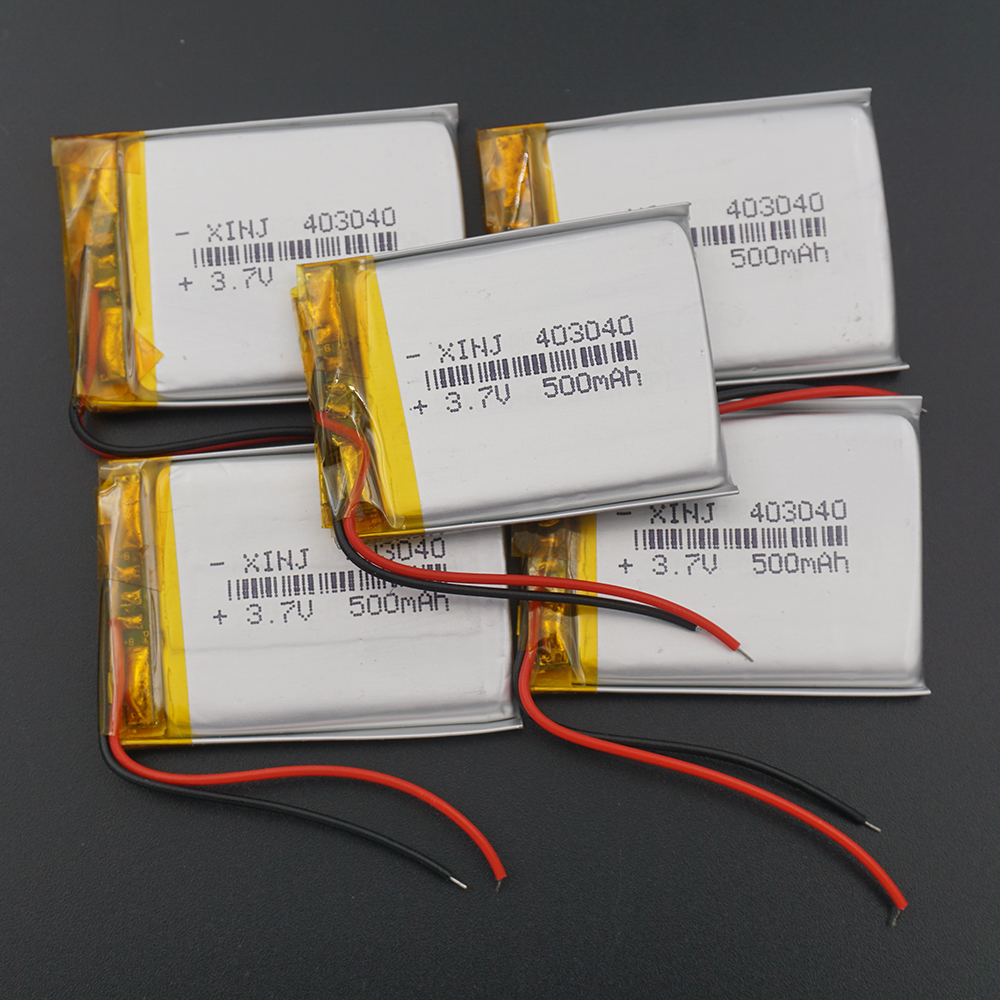 XINJ 5pcs <font><b>3.7V</b></font> 500 mAh Li po Lithium Polymer Battery Li ion cell <font><b>403040</b></font> For GPS Sat Nav MP4 watches driving recorder headphones image