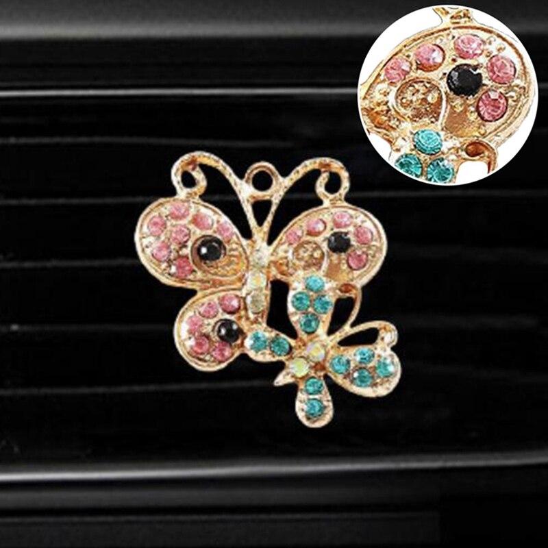 Стразы-бабочки, воздушный Зажим Для Освежителя, автомобильный парфюм, украшение кондиционера на выходе, автомобильный Стайлинг, авто
