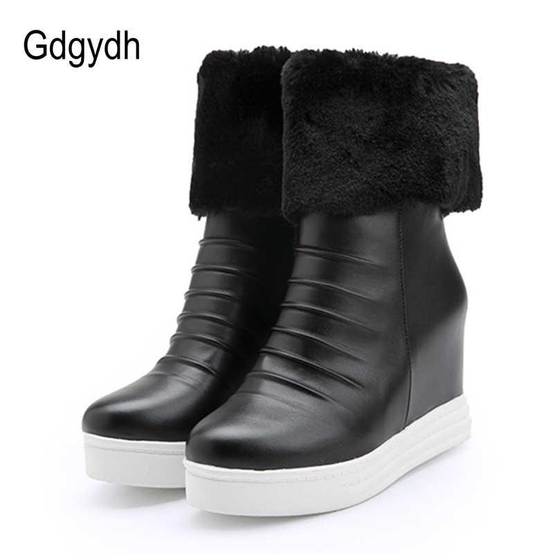 Gdgydh büyük boy 43 yeni kış botları kadınlar için kürk sıcak ayakkabı ayakkabı takozlar topuk fermuar peluş kauçuk taban yüksek kaliteli