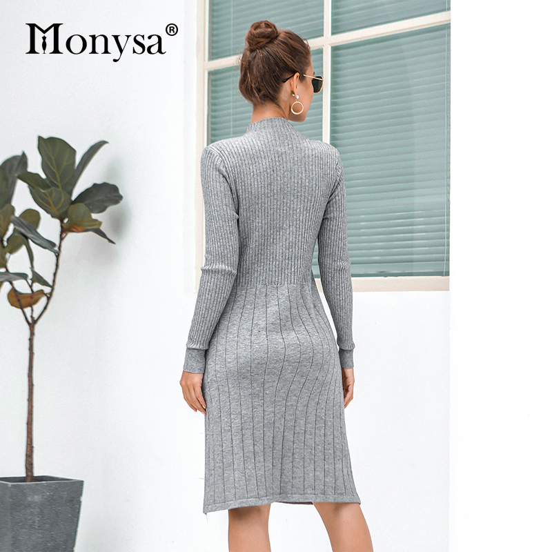 Casual Knitted Sweater Dresses Women New Arrival 2019 Autumn Long Sleeve Dress Ladies Knee Length Dress Winter Clothes 42