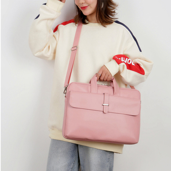 New laptop computer briefcase female fashion pu leather 15.6-inch cute pink ladies notebook bag waterproof
