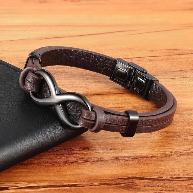 Stainless Steel Leather Bracelet Infinity Logo Special Popular Pattern Men's Bracelet DIY Size Valentine's Day Handsome Gift