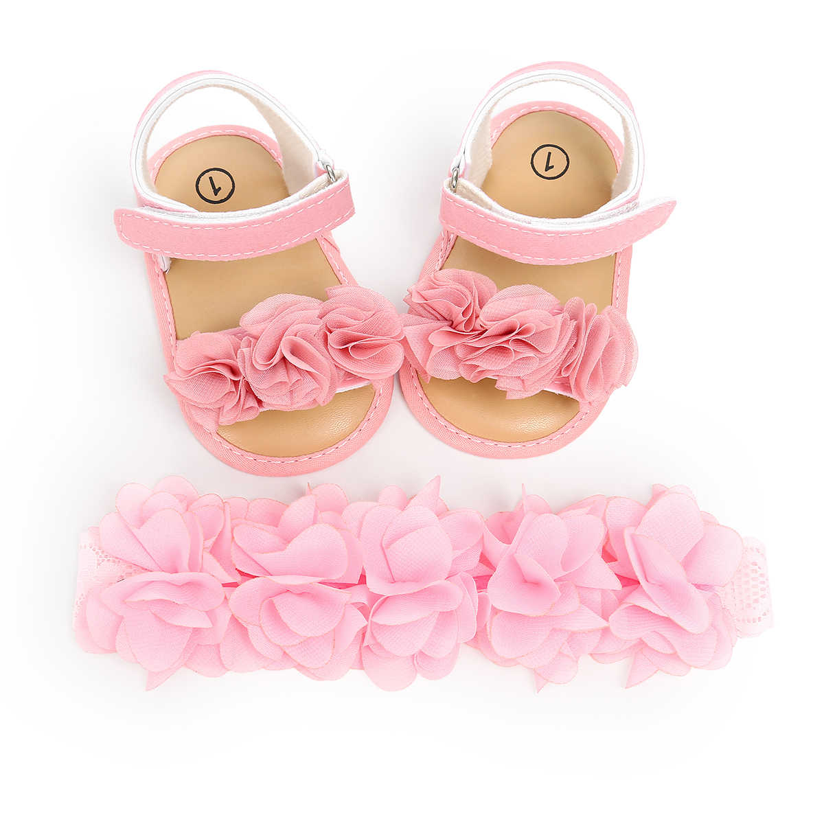 Princess Cute Newborn Baby Girls Flower Sandals Summer Casual Soft Crib Shoes+Headbands 2pcs First Prewalker Beach Sandals