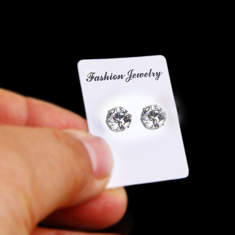 Fashion 6/8mm No Piercing Black White No Hole Magnetic Stud Earrings Magnet Crystal Earrings Jewelry For Women Men Kids Earring