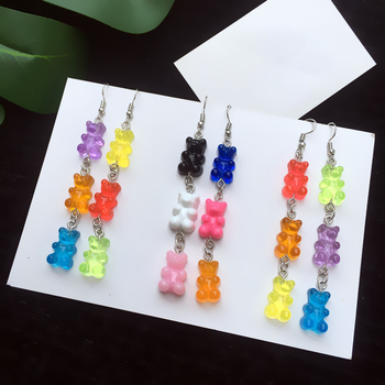 Donarsei Cute Colorful Gummy Bear Drop Earrings Women Minimalist Animal Bear Statement Earrings Party image