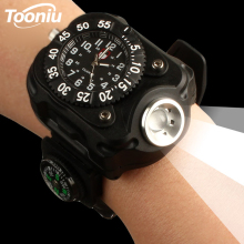 цены Rechargeable wrist light LED flashlight waterproof watch light with compass for camping, adventure, etc.