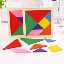 1 pcs montessori tangram de madeira 7 peça quebra-cabeça colorido quadrado iq jogo cérebro teaser brinquedos educativos inteligentes para crianças