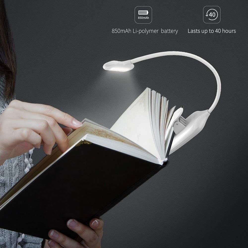 Led luz do livro usb led recarregável mini clip on lâmpada de mesa luz flexível nightlight lâmpada de leitura para viagens quarto livro|Luzes de leitura|   -