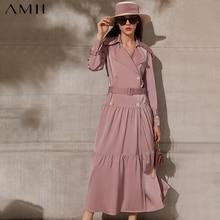 Amii minimalismo primavera nuovo cappotto da donna causale solido risvolto Bouble Bresated Long Women Trench Coat abito femminile 12140014