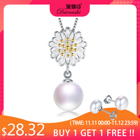 Dainashi 100% Natural Perfect Freshwater Pearl Pendant Necklace 925 Solid Sterling Silver Fine Jewelry New 45cm Silver Chain