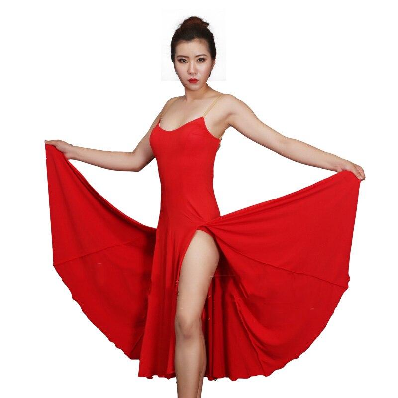 New Dancing Dress Women Latin Red Dress For Cow Boy Tango Latin Practice Wear Long Dance Skirt Flamenco Cowboy Red Latin BL2003