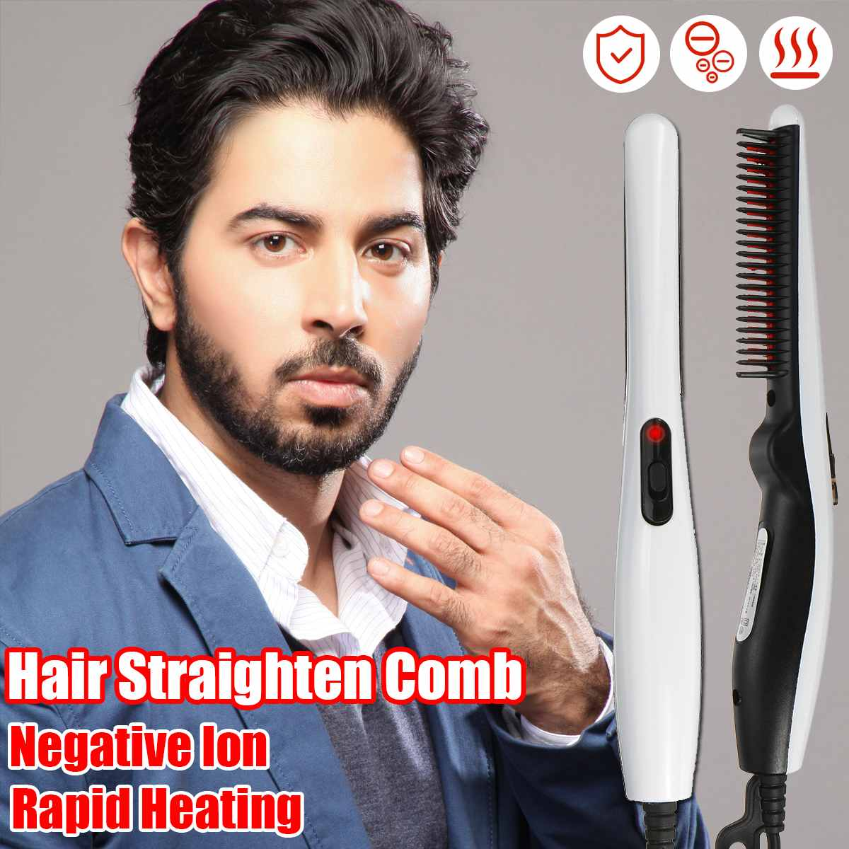 Electric Beard Straightener Comb Quick Heated Brush Styler For Men Women Travel Hair Styler Fast Warm-up  Hair Straightener
