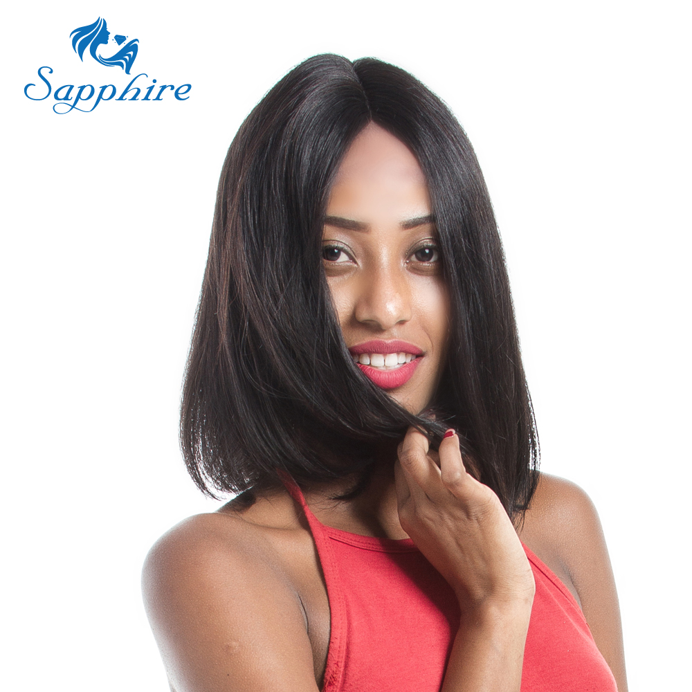 Sapphire 12 14 16 Inches Lace Front Human Hair Wigs Brazilian Hair Wig With Natural Hairline Bleached Knots Free Shipping