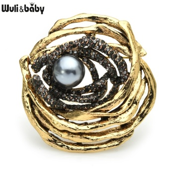 Wuli&baby Pearl Rose Flower Broocohes For Women Metal Grey Pearl Rhinestone Flower Weddings Casual Office Brooch Pins Gifts chic faux pearl rhinestone number shape brooch for women