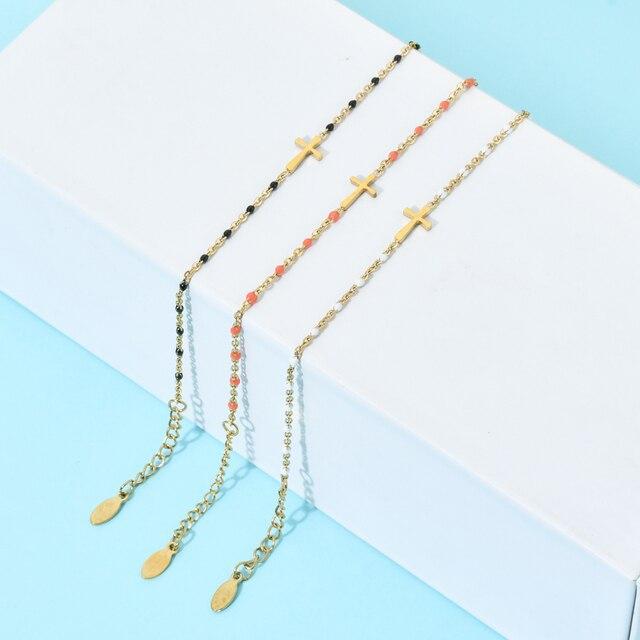 ZMZY Boho Thin Style Fashion Chain Jesus Christian Stainless Steel Bracelet Women Gold Charm Cross Bracelet Girls Jewelry 2