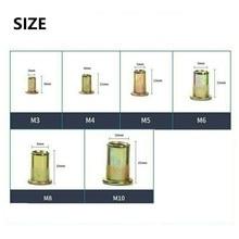 Zinc 60PCS Steel Riveting Nut Threaded Insert Nutsert Set Tools Flat Head