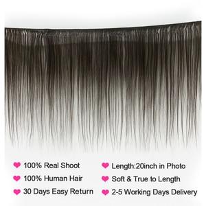 Image 2 - VSHOW ペルーストレートヘアの束 4 束 Remy 毛織りバンドル 100% 人毛エクステンション 10 26 インチ