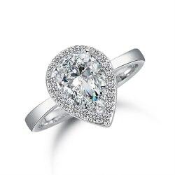 Nouveauté 14K or/or blanc/or Rose rempli Halo poire coupe AAA zircon cubique bague de fiançailles de mariage taille réglable