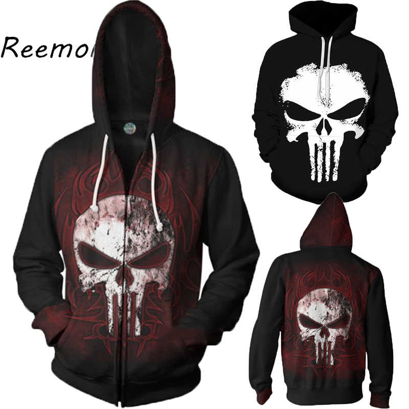 The Punisher Cosplay Hoodie Sweatshirts Mens Male 3d Print Fashion Cool Hip Hop Zipper Hooded Jacket Coats Streetwear 2019 5XL