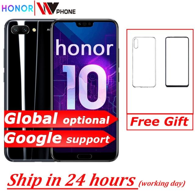 Version mondiale Honor 10 19:9 plein écran 5.84 pouces AI caméra Octa Core empreinte digitale ID NFC android 8.1