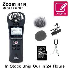 Zoom original h1n handy gravador de voz digital portátil microfone estéreo de áudio entrevista microfone com kingston16gb sd cartão lable