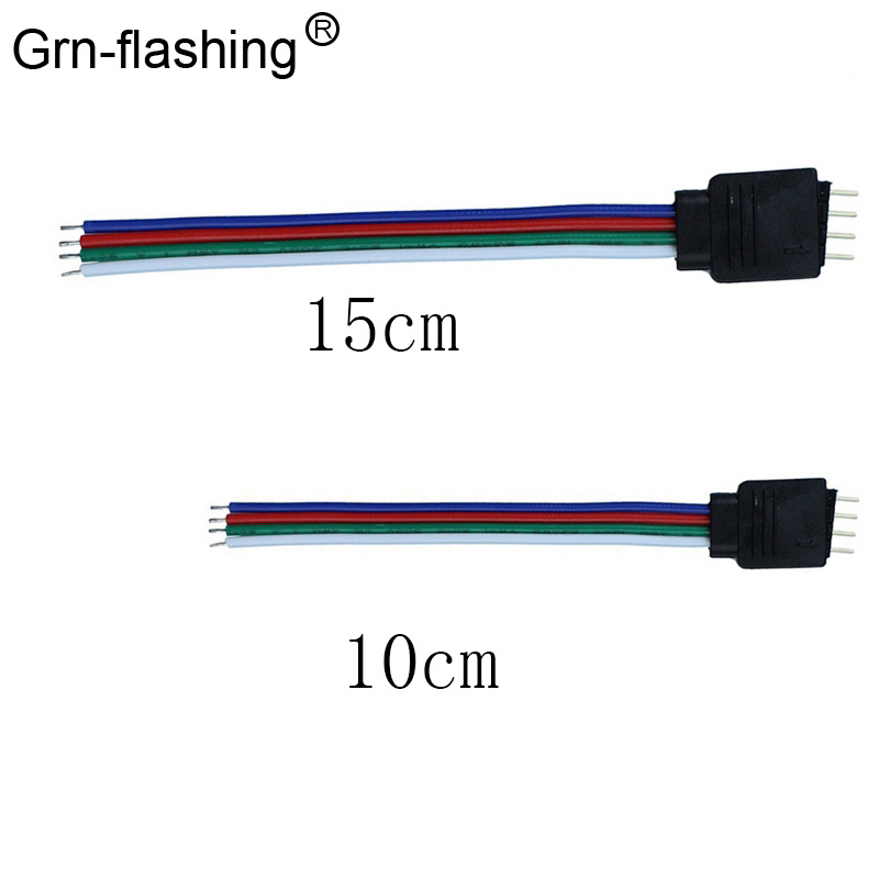 10cm 15cm <font><b>4pin</b></font> Male RGB Connector Wire <font><b>Cable</b></font> For for 3528/5050 RGB led strip image