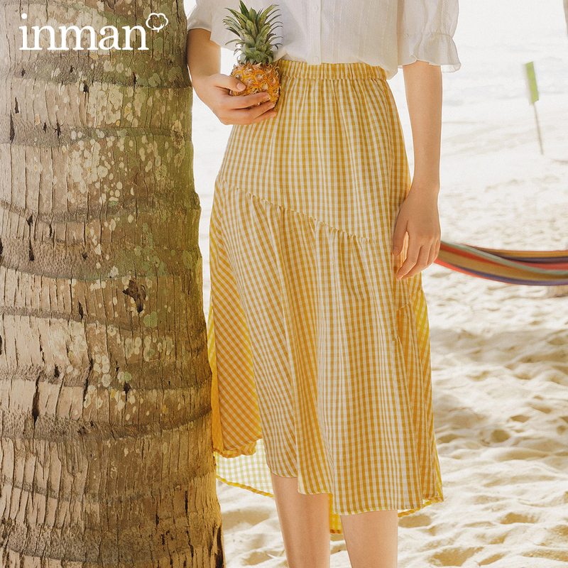 INMAN 2020 Summer New Arriavl Elastic Waist Literary Irregular Splicing A-line Plaid Skirt