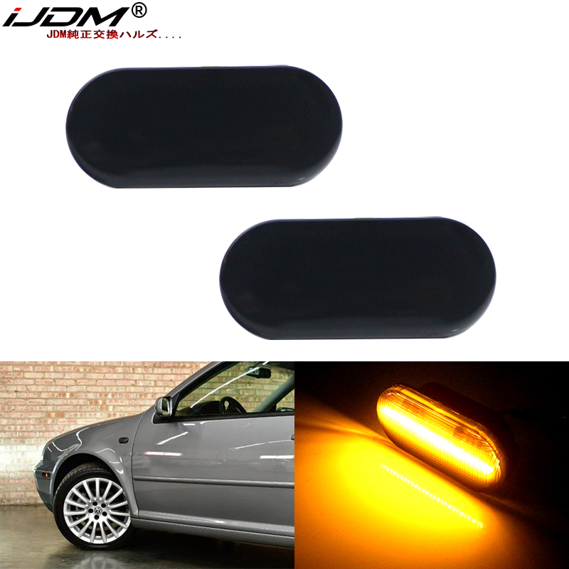 2pcs Euro Style Smoked Lens Amber LED Side Marker Lights For Volkswagen MK4 Golf Jetta Bora B5/B5.5 Passat or Beetle and GTI R32(China)