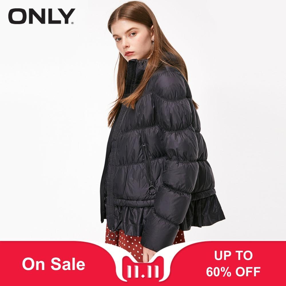 ONLY  Women's Light-weight White Duck Down Packable Ruffle Hemline Short Down Jacket |118323506