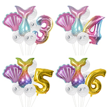 Birthday Party Balloon Decorations Baby Kids Mermaid Party Balloons Number Foil Balloon Little Mermaid  Helium Globos Balls little mermaid party supplies mermaid theme birthday decor mermaid banner balloon for kids favors wedding party decorations