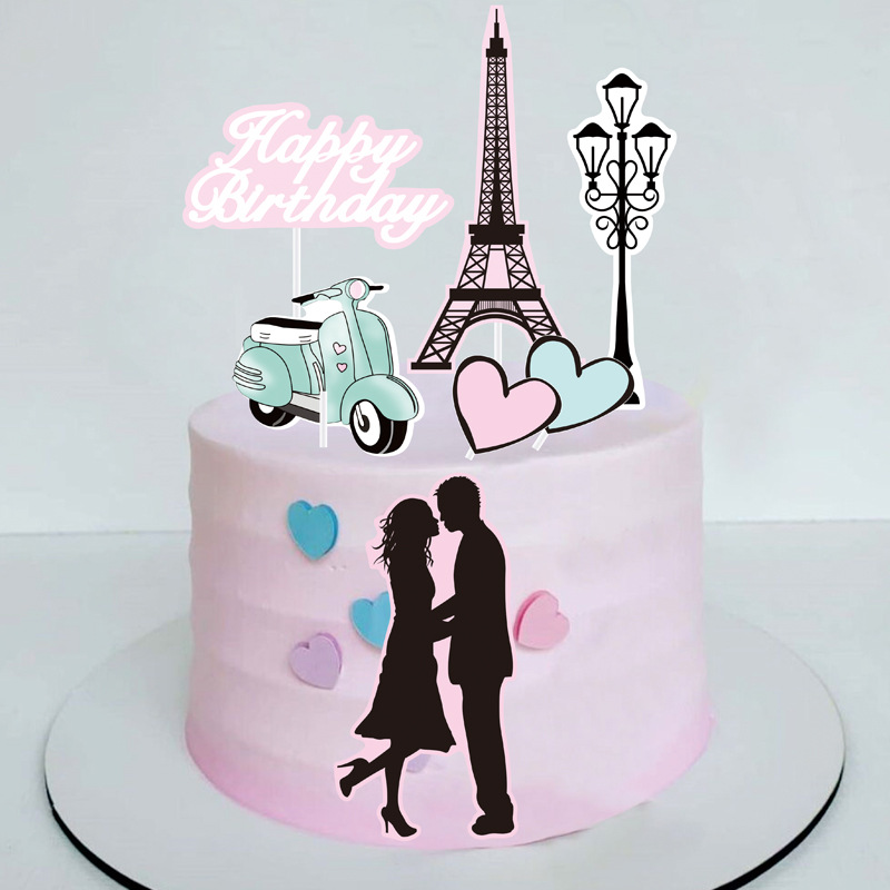 Cake Toppers Perfume Lipstick Paris Topper Eiffel Tower Kiss Cake Flags Kids Girls Birthday Wedding Bride Party Baking DIY Decor-3