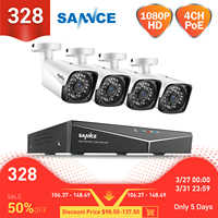 SANNCE 4CH HD 1080P XPOE system wideo cctv nvr 4 sztuk 2MP POE kamera IP zewnątrz odporne na warunki atmosferyczne bezpieczeństwo w domu nadzór WIFI zestawy
