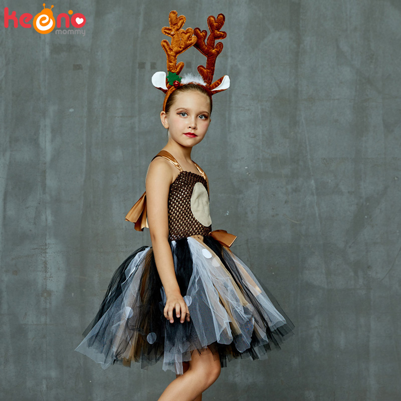 Reindeer Costume Christmas Party Fancy Dress Girls Skirt or Headband Dance SHOW