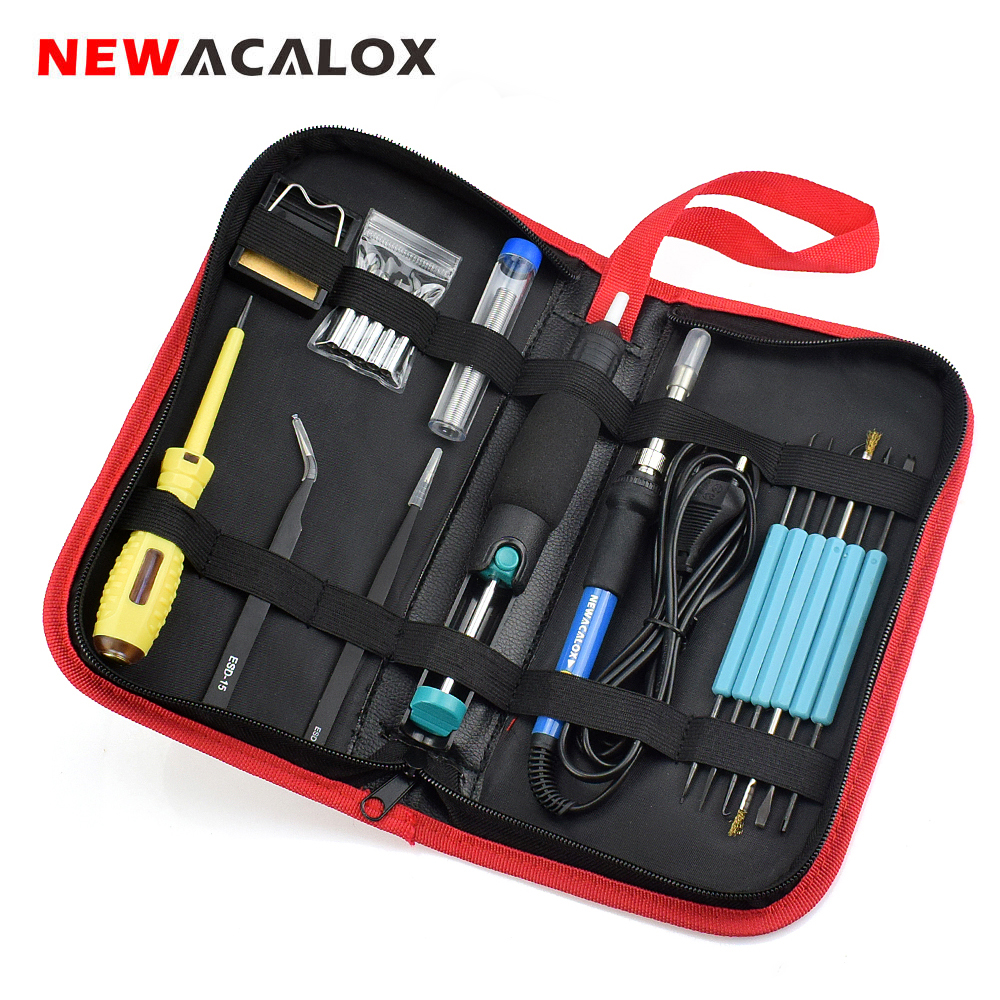 NEWACALOX 60W 110V/220V Adjustable Temperature Electric Soldering Iron Kit Welding BGA Repair Tool Set Solder Wire Test Pencil