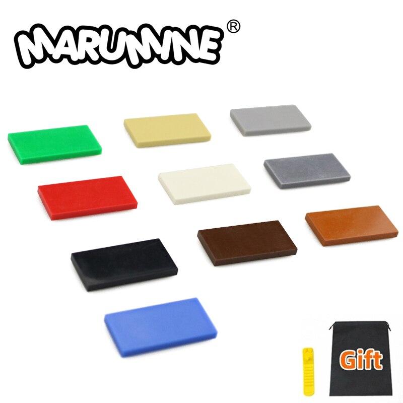 Marumine 100PCS 2x4 Tile Plate Bricks 87079 Building Blocks Parts MOC Blocks Learning Educational Toys For Kids