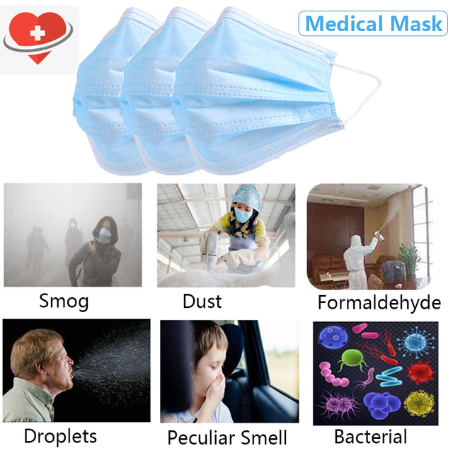 50PCS  3-Layer Medical Mask Non-woven Mouth Face Mask Anti-Dust bacteria Flu disposable Mask Filter mask wholesalemedical masks 2