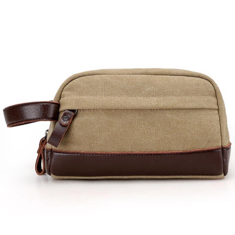 Zipper Men Travel Canvas Toiletry Bag Wash Shower Makeup Organizer Portable Case Pouch Faux Leather