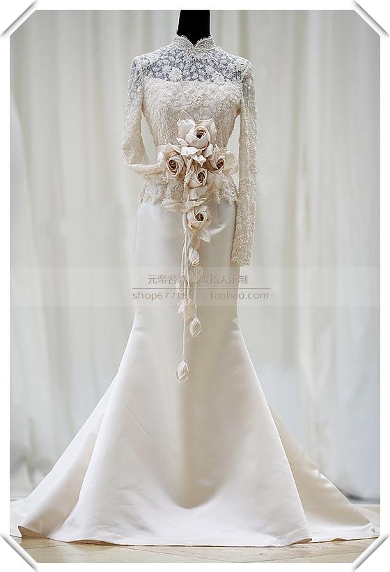 Купить с кэшбэком casamento fashion highneck vestido de noiva long sleeve romantic mermaid bridal gowns free shipping mother of the bride dresses